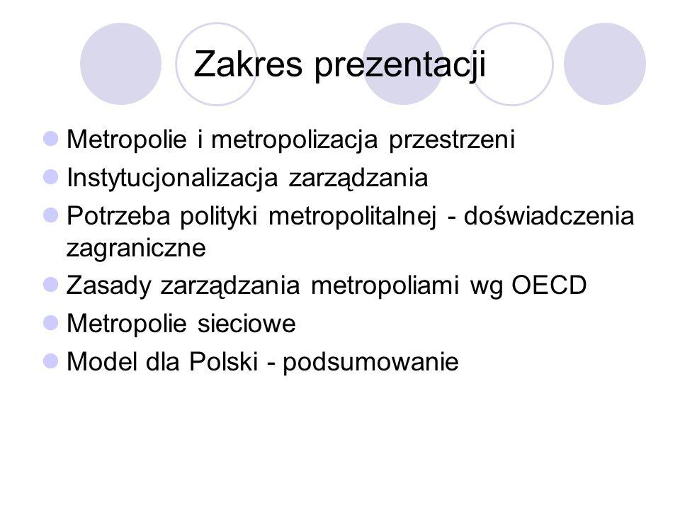 Zakres prezentacji Metropolie i metropolizacja przestrzeni