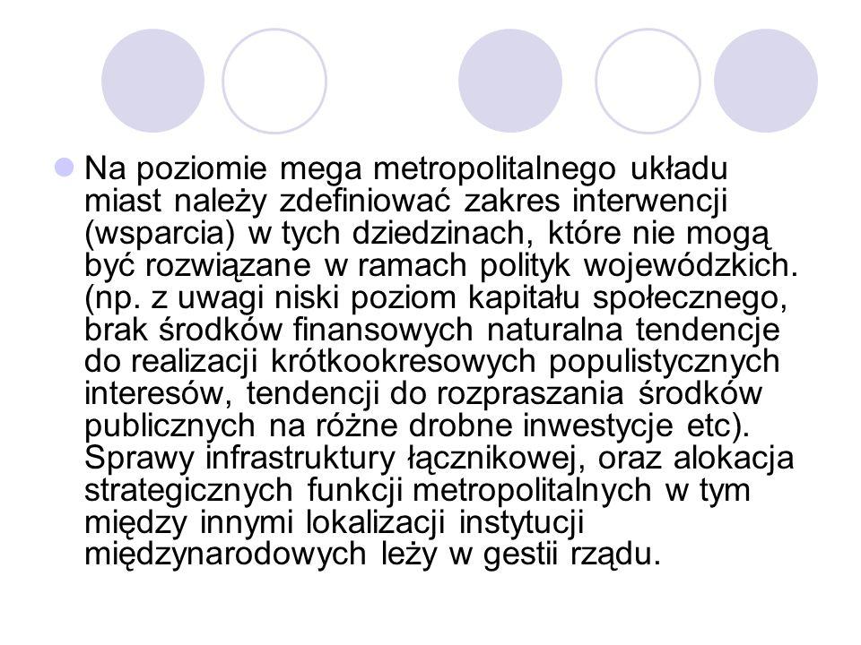 Na poziomie mega metropolitalnego układu miast należy zdefiniować zakres interwencji (wsparcia) w tych dziedzinach, które nie mogą być rozwiązane w ramach polityk wojewódzkich.