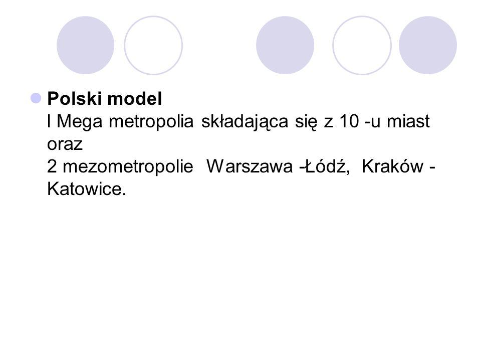 Polski model l Mega metropolia składająca się z 10 -u miast oraz 2 mezometropolie Warszawa -Łódź, Kraków - Katowice.