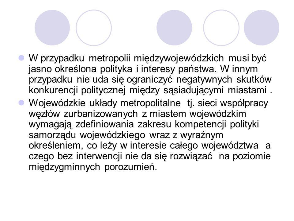 W przypadku metropolii międzywojewódzkich musi być jasno określona polityka i interesy państwa. W innym przypadku nie uda się ograniczyć negatywnych skutków konkurencji politycznej między sąsiadującymi miastami .