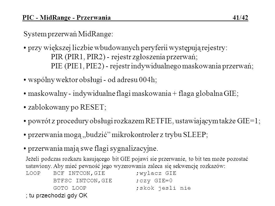 PIC - MidRange - Przerwania 41/42