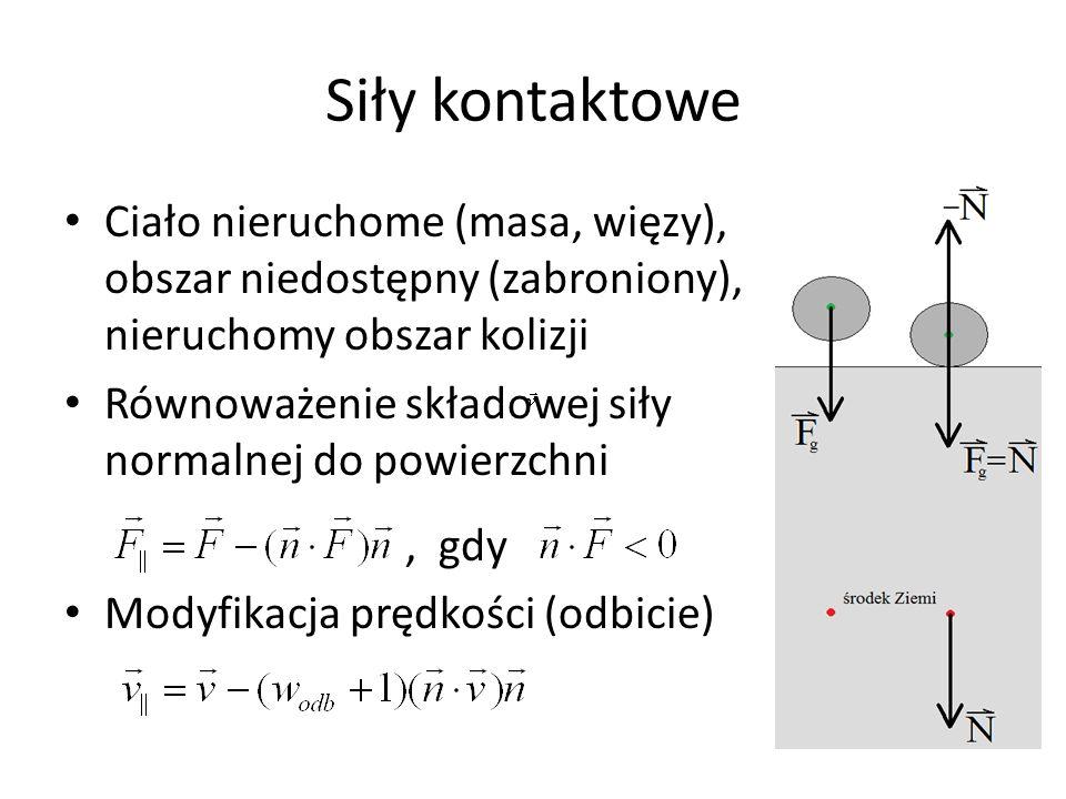 Siły kontaktowe Ciało nieruchome (masa, więzy), obszar niedostępny (zabroniony), nieruchomy obszar kolizji.