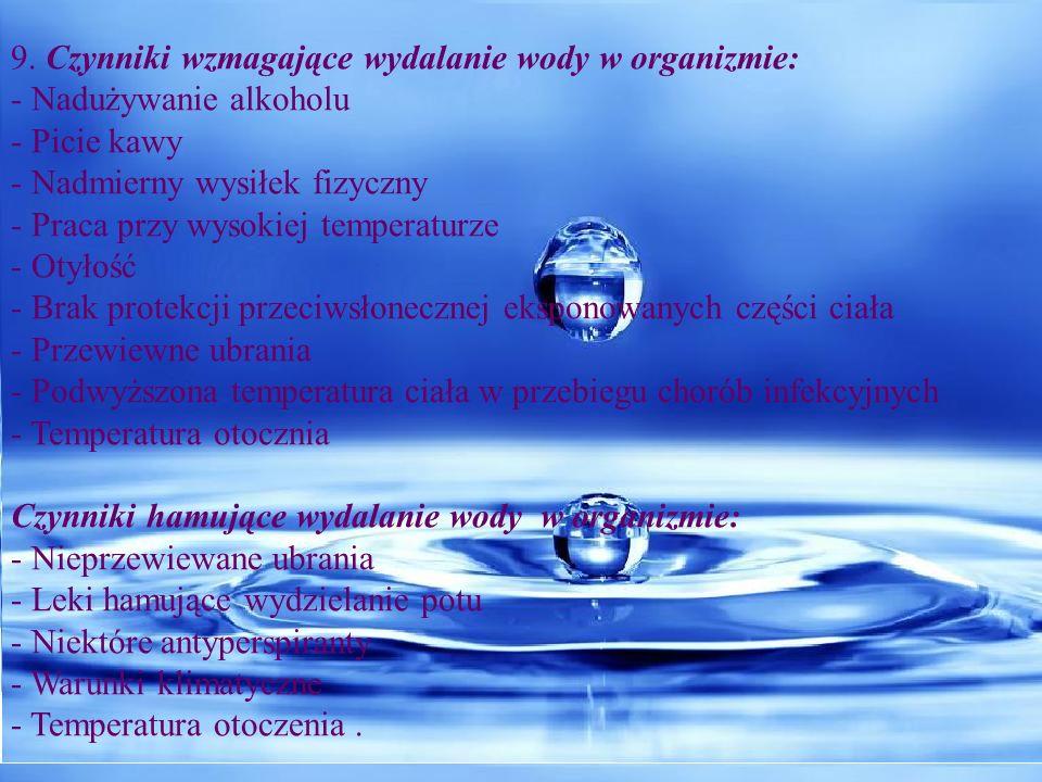 9. Czynniki wzmagające wydalanie wody w organizmie: