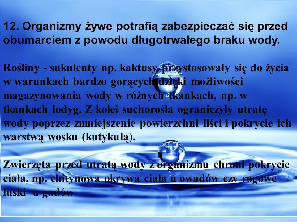12. Organizmy żywe potrafią zabezpieczać się przed obumarciem z powodu długotrwałego braku wody.