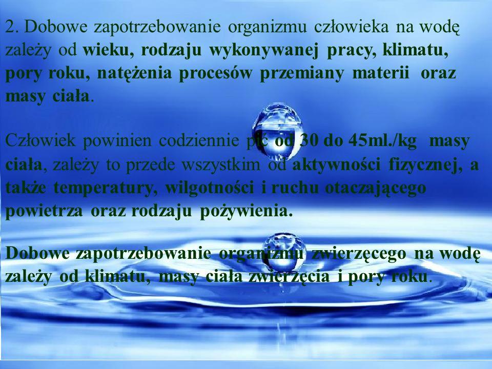 2. Dobowe zapotrzebowanie organizmu człowieka na wodę
