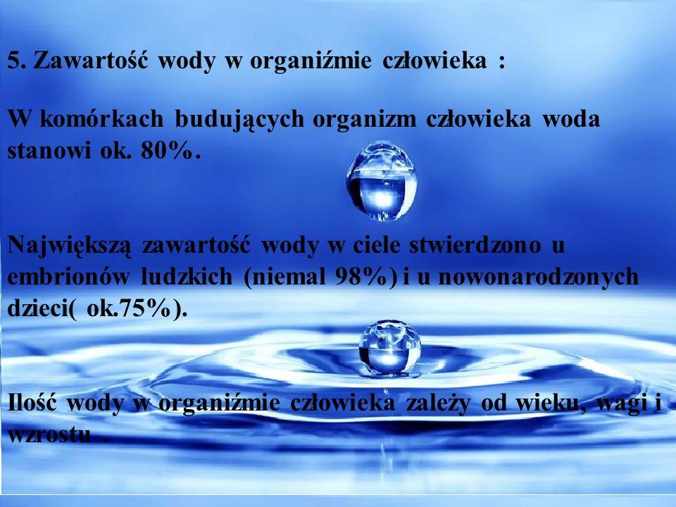 5. Zawartość wody w organiźmie człowieka :