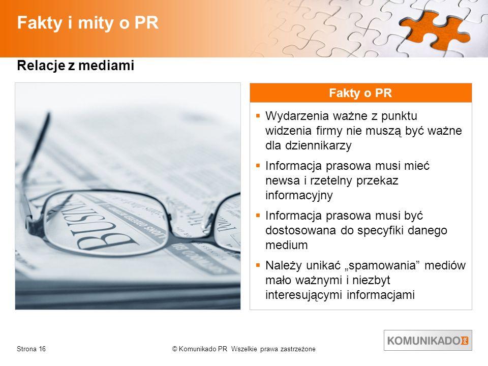 Fakty i mity o PR Relacje z mediami Fakty o PR