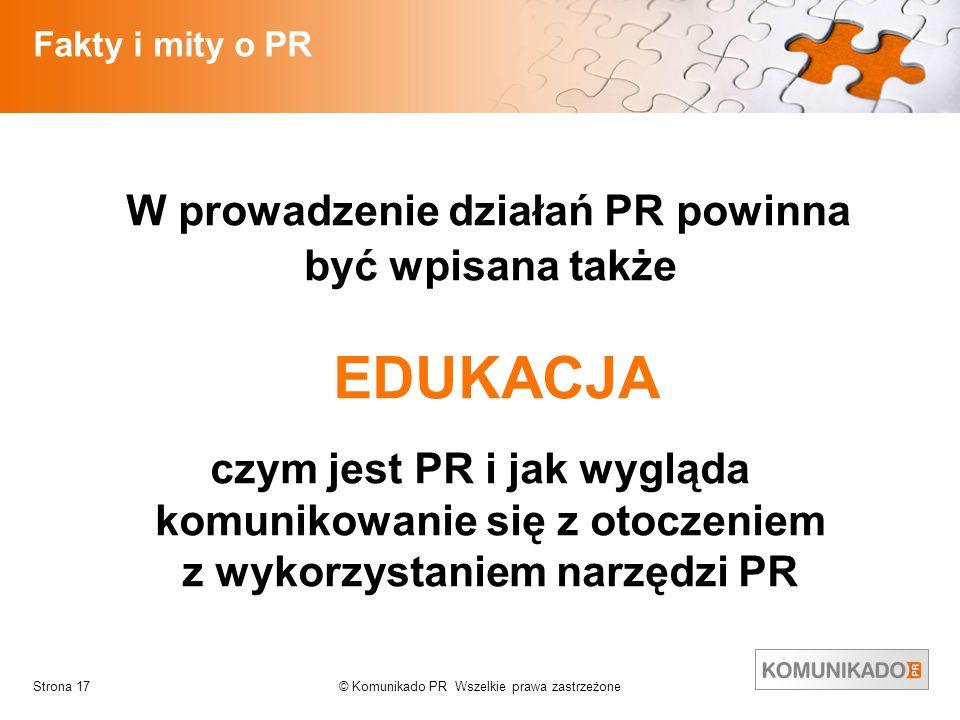 W prowadzenie działań PR powinna być wpisana także EDUKACJA