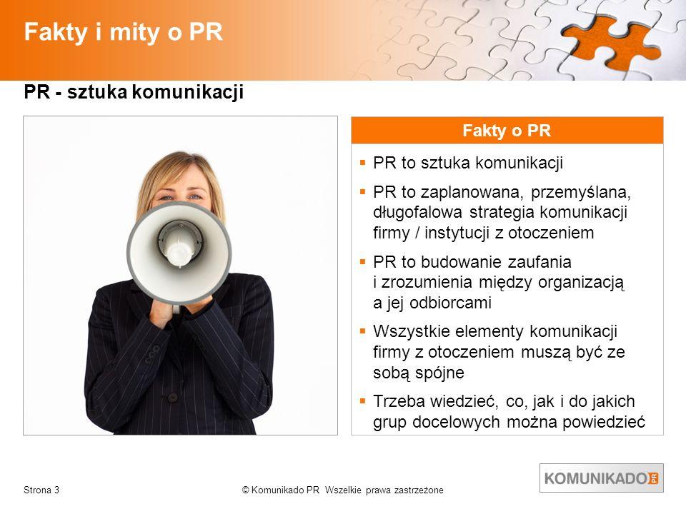 Fakty i mity o PR PR - sztuka komunikacji Fakty o PR