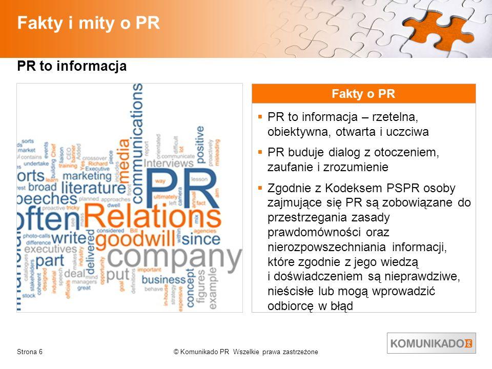 Fakty i mity o PR PR to informacja Fakty o PR