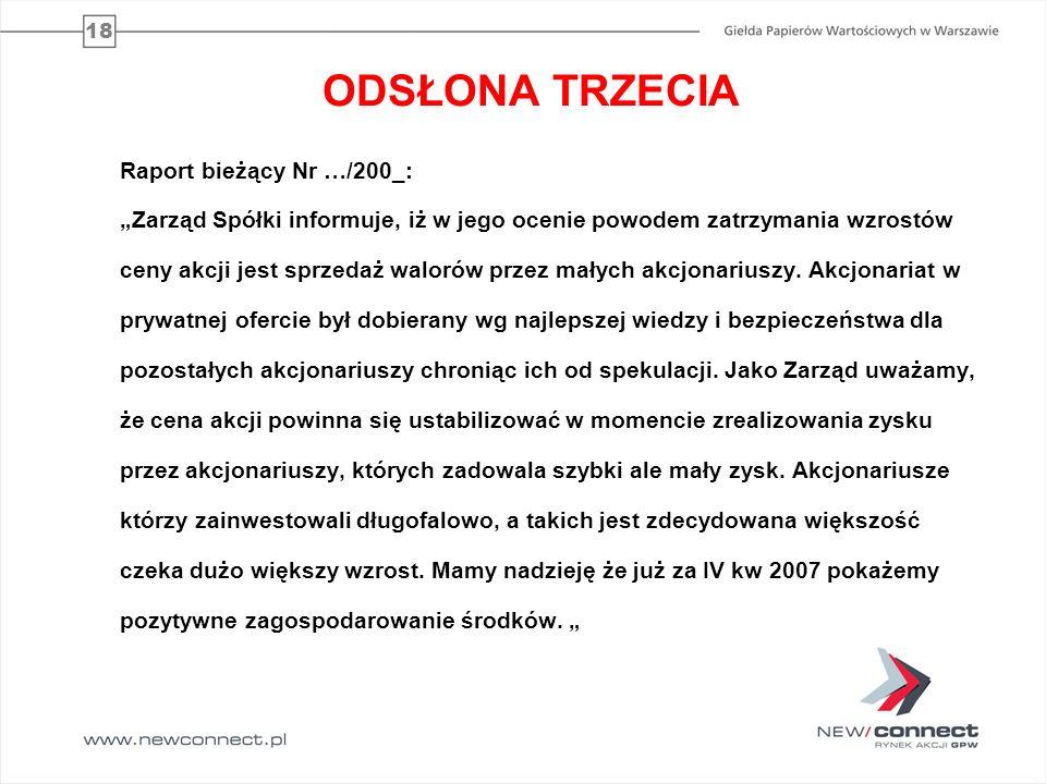 ODSŁONA TRZECIA Raport bieżący Nr …/200_:
