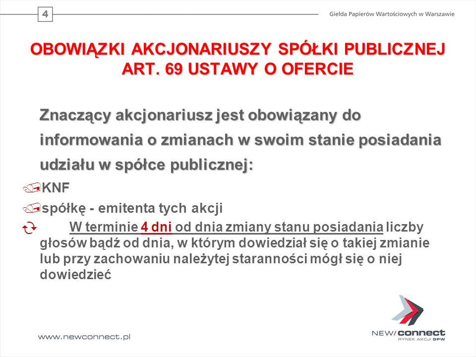 OBOWIĄZKI AKCJONARIUSZY SPÓŁKI PUBLICZNEJ ART. 69 USTAWY O OFERCIE