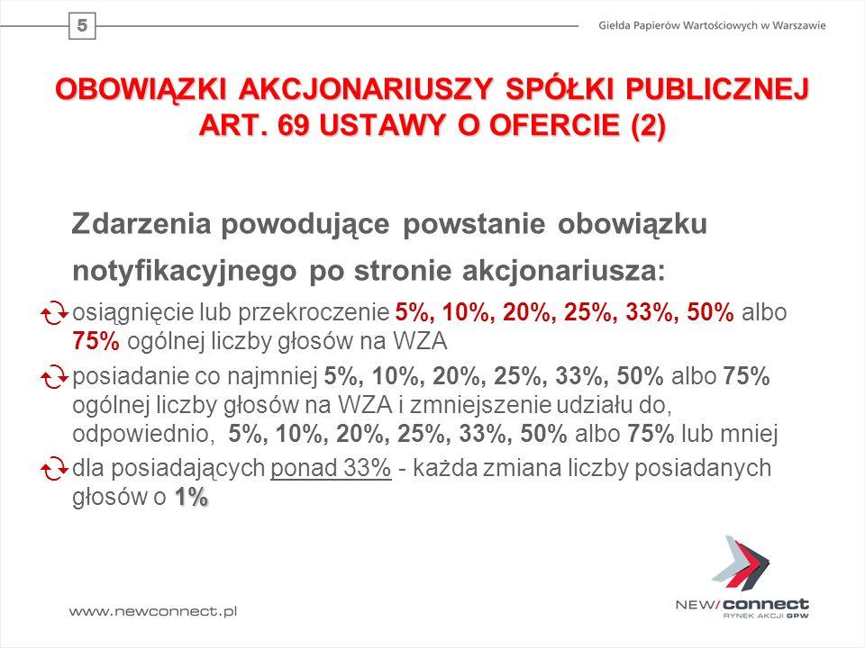 OBOWIĄZKI AKCJONARIUSZY SPÓŁKI PUBLICZNEJ ART. 69 USTAWY O OFERCIE (2)