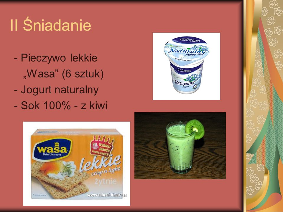 """II Śniadanie - Pieczywo lekkie """"Wasa (6 sztuk) - Jogurt naturalny"""