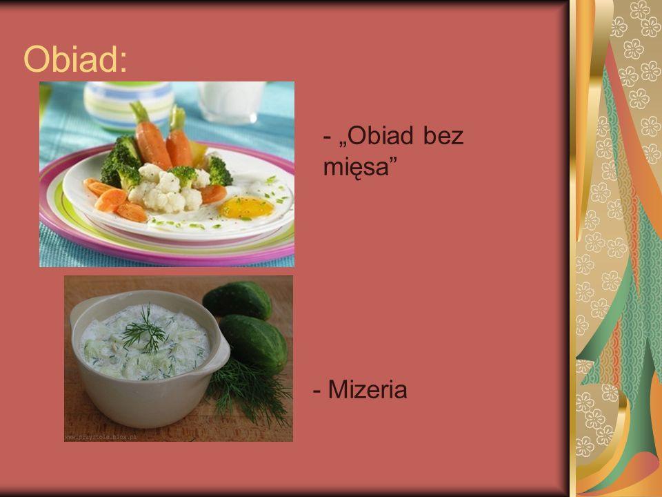 """Obiad: - """"Obiad bez mięsa - Mizeria"""