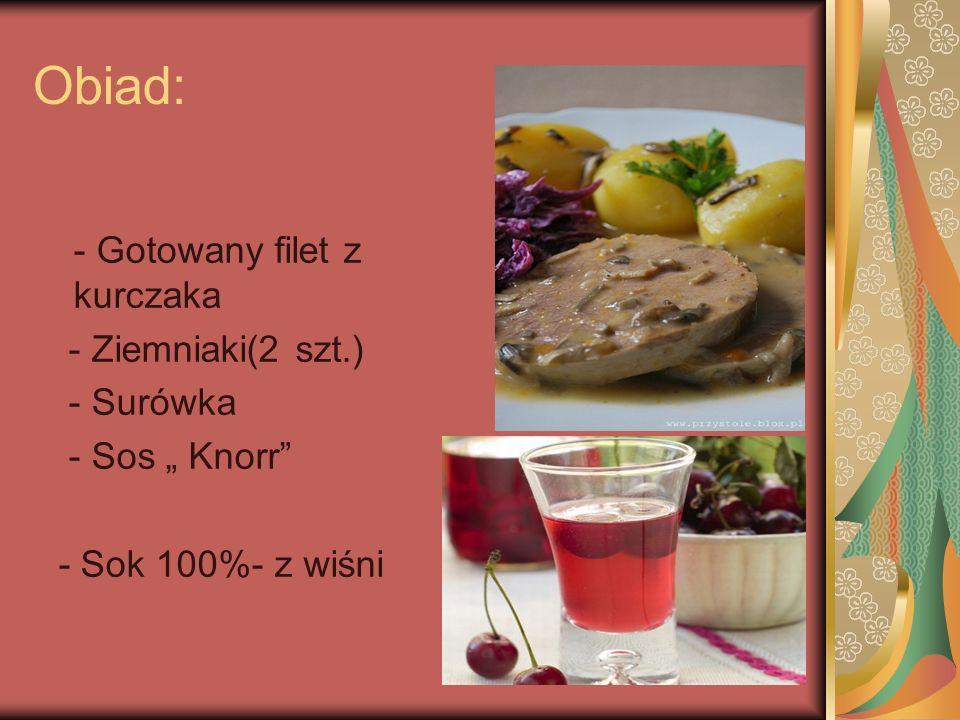 Obiad: - Gotowany filet z kurczaka - Ziemniaki(2 szt.) - Surówka