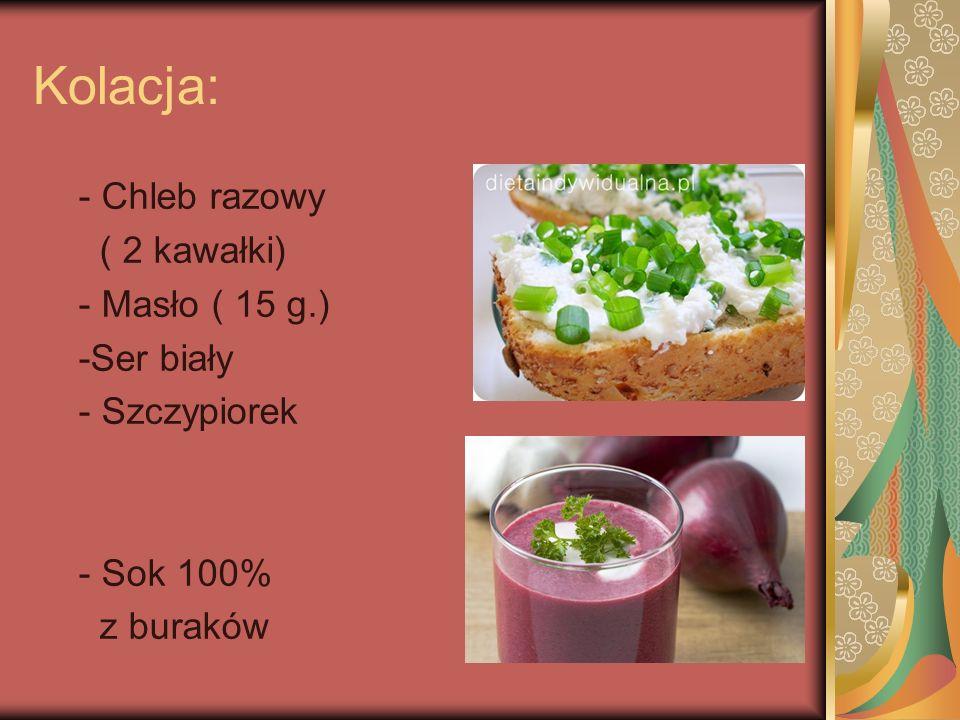 Kolacja: - Chleb razowy ( 2 kawałki) - Masło ( 15 g.) -Ser biały