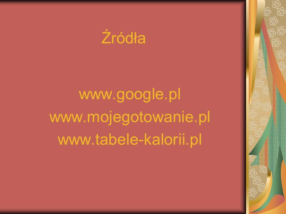 Źródła www.google.pl www.mojegotowanie.pl www.tabele-kalorii.pl