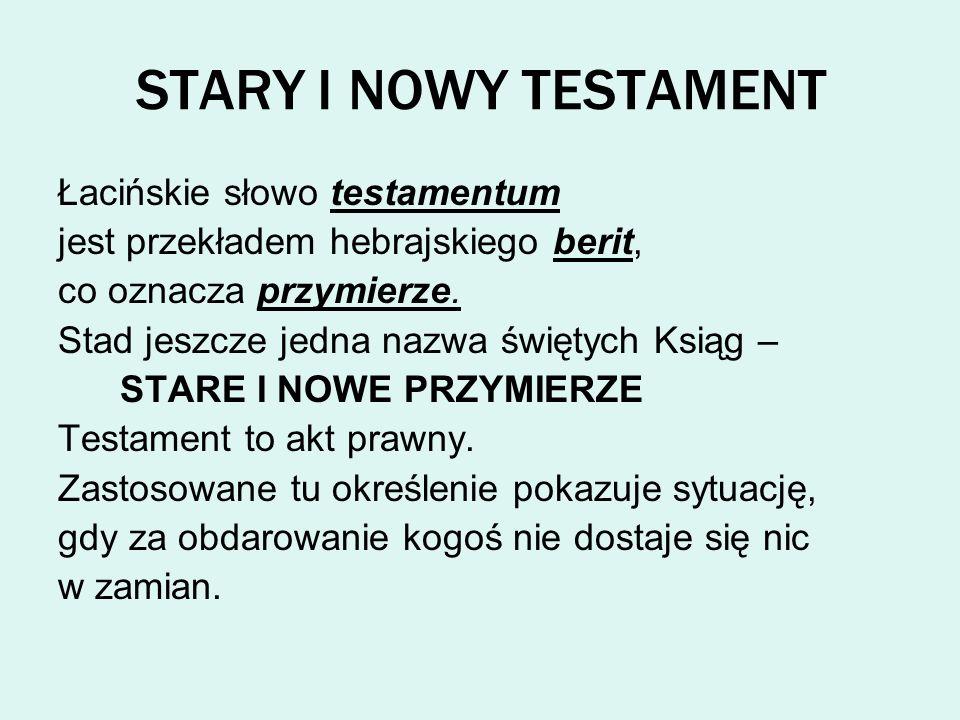 STARY I NOWY TESTAMENT Łacińskie słowo testamentum
