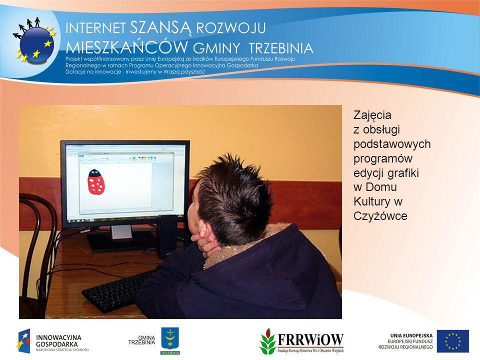 Zajęcia z obsługi podstawowych programów edycji grafiki w Domu Kultury w Czyżówce