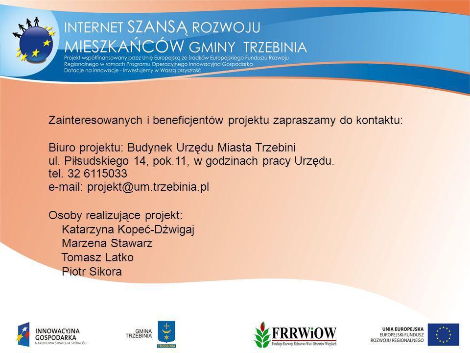 Zainteresowanych i beneficjentów projektu zapraszamy do kontaktu: