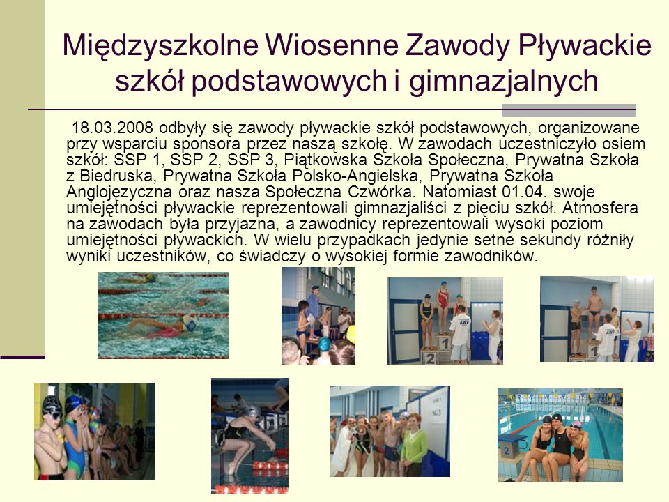 Międzyszkolne Wiosenne Zawody Pływackie szkół podstawowych i gimnazjalnych