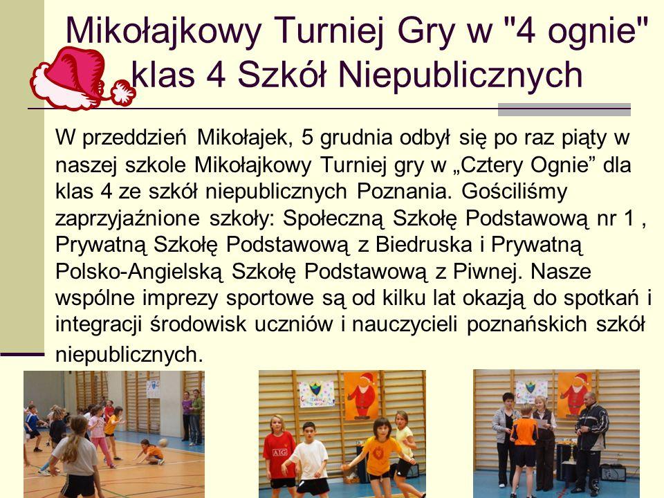 Mikołajkowy Turniej Gry w 4 ognie klas 4 Szkół Niepublicznych