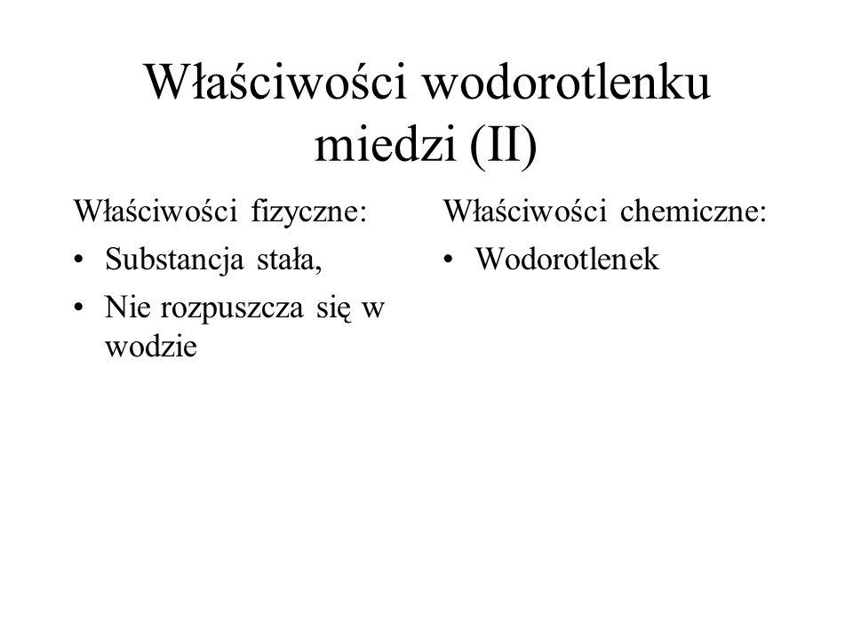 Właściwości wodorotlenku miedzi (II)