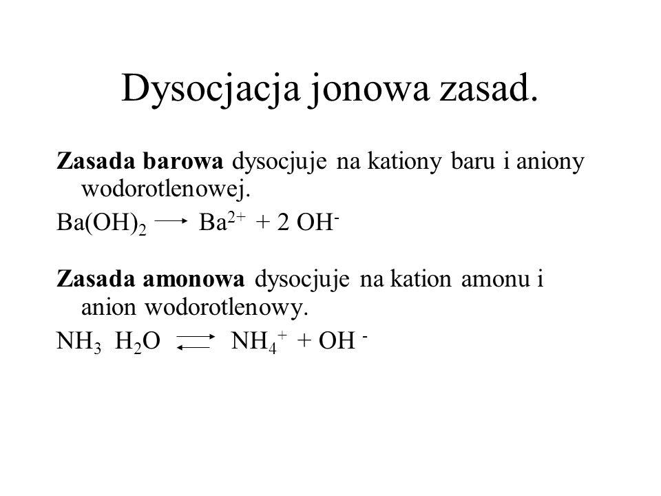 Dysocjacja jonowa zasad.