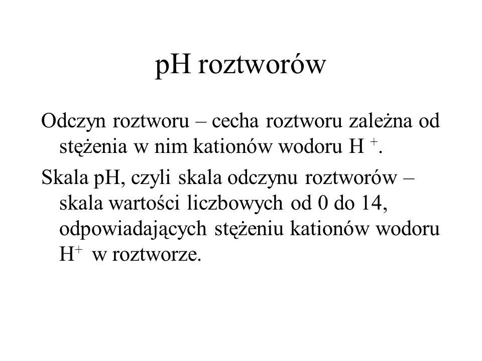 pH roztworów Odczyn roztworu – cecha roztworu zależna od stężenia w nim kationów wodoru H +.