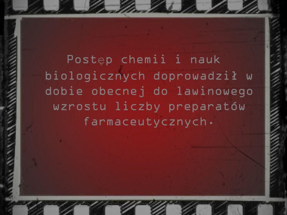 Postęp chemii i nauk biologicznych doprowadził w dobie obecnej do lawinowego wzrostu liczby preparatów farmaceutycznych.