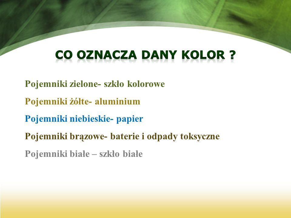 Co Oznacza dany kolor Pojemniki zielone- szkło kolorowe