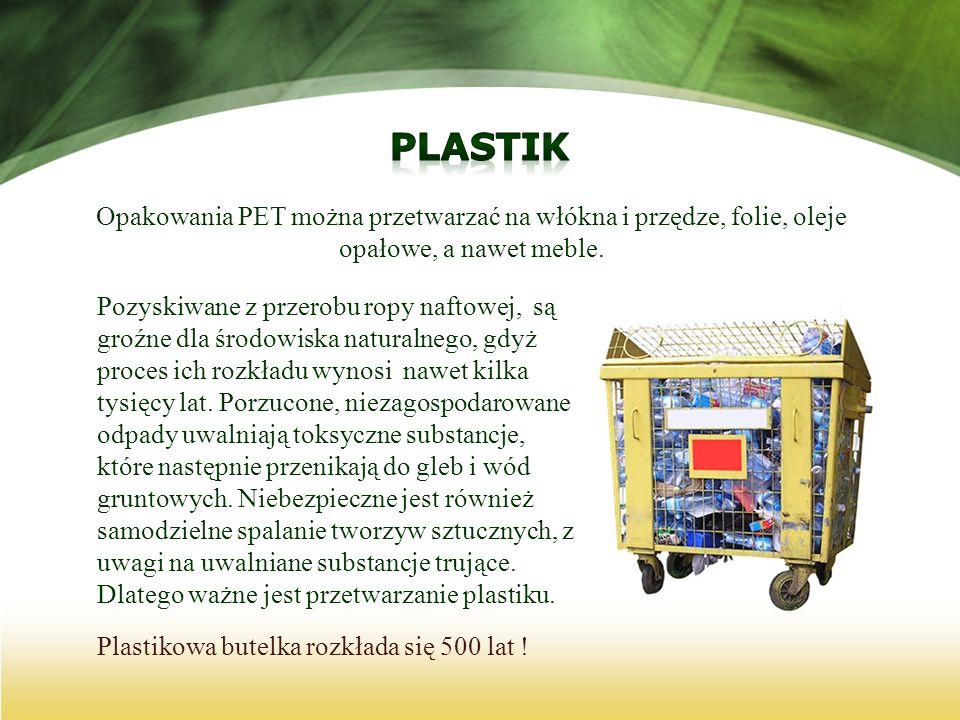 Plastik Opakowania PET można przetwarzać na włókna i przędze, folie, oleje opałowe, a nawet meble.