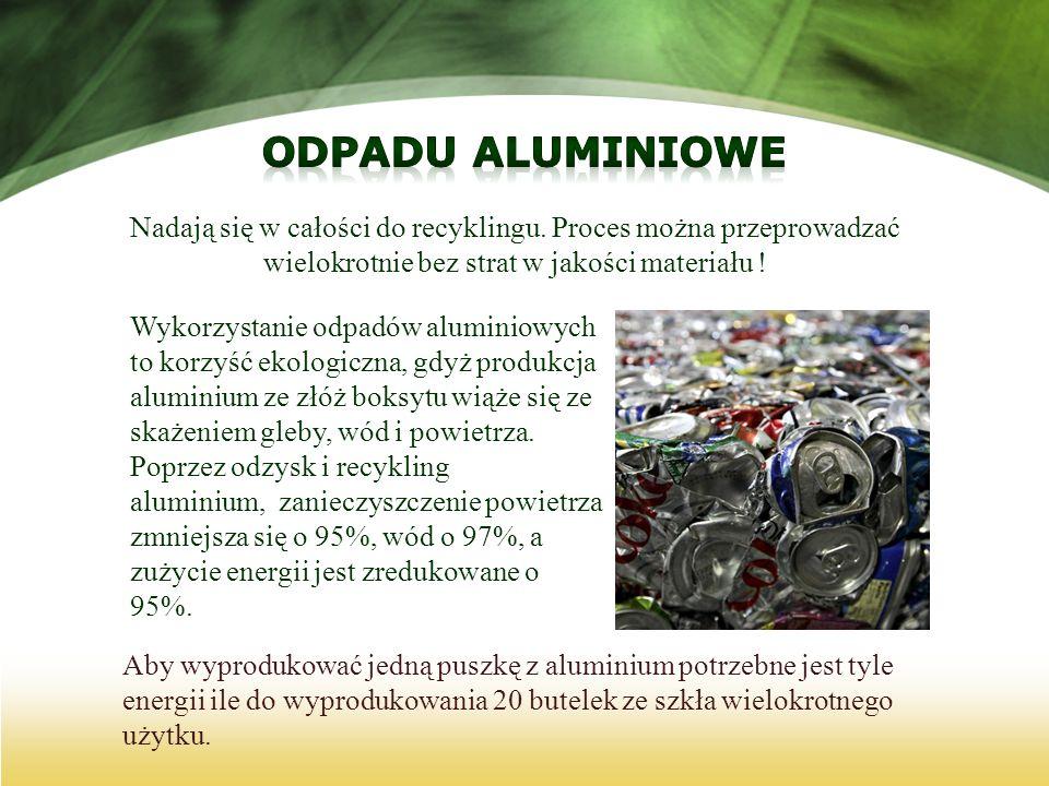 Odpadu aluminioweNadają się w całości do recyklingu. Proces można przeprowadzać wielokrotnie bez strat w jakości materiału !