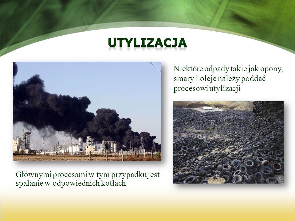 UtylizacjaNiektóre odpady takie jak opony, smary i oleje należy poddać procesowi utylizacji.