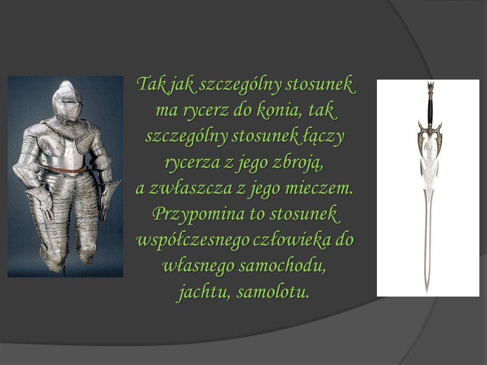 Tak jak szczególny stosunek ma rycerz do konia, tak szczególny stosunek łączy rycerza z jego zbroją,