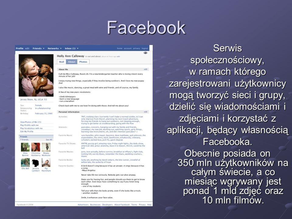 Facebook Serwis społecznościowy, w ramach którego