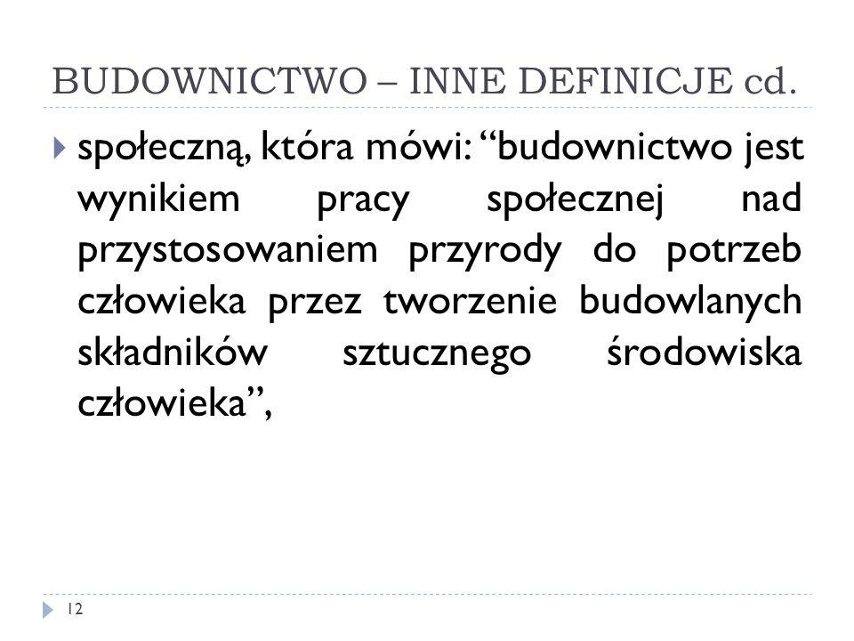BUDOWNICTWO – INNE DEFINICJE cd.