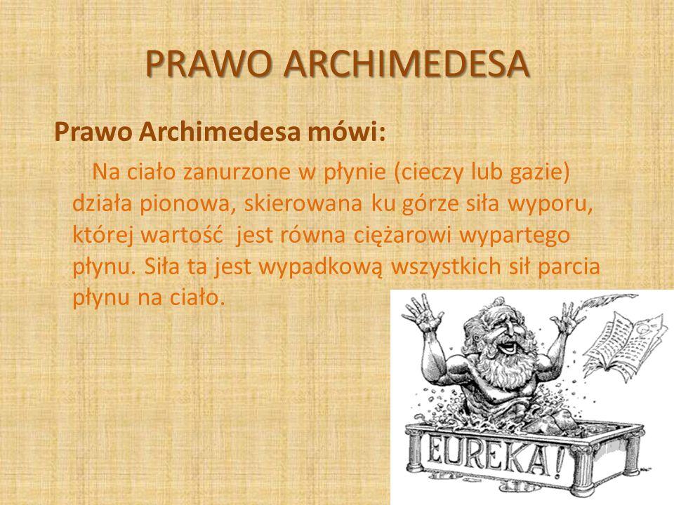 PRAWO ARCHIMEDESA Prawo Archimedesa mówi: