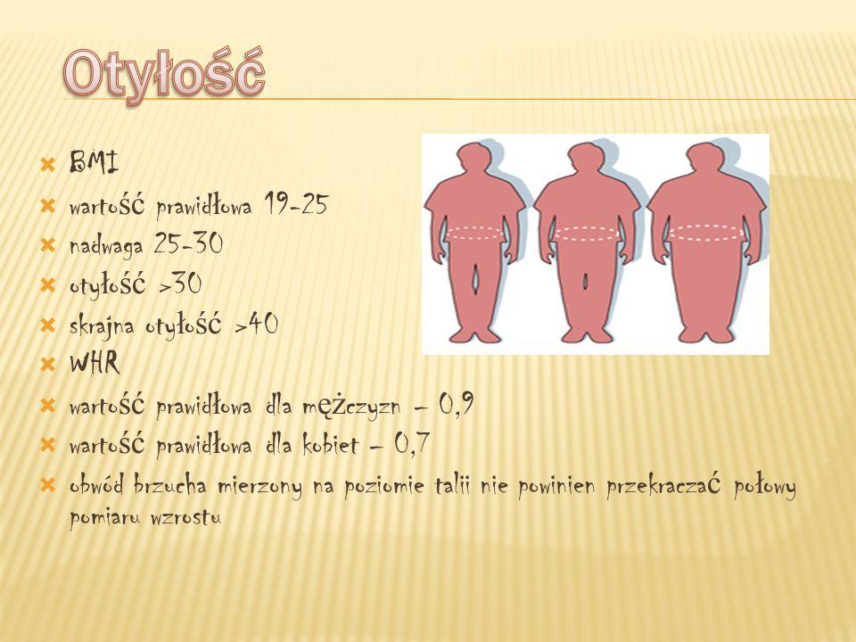 Otyłość BMI wartość prawidłowa 19-25 nadwaga 25-30 otyłość >30