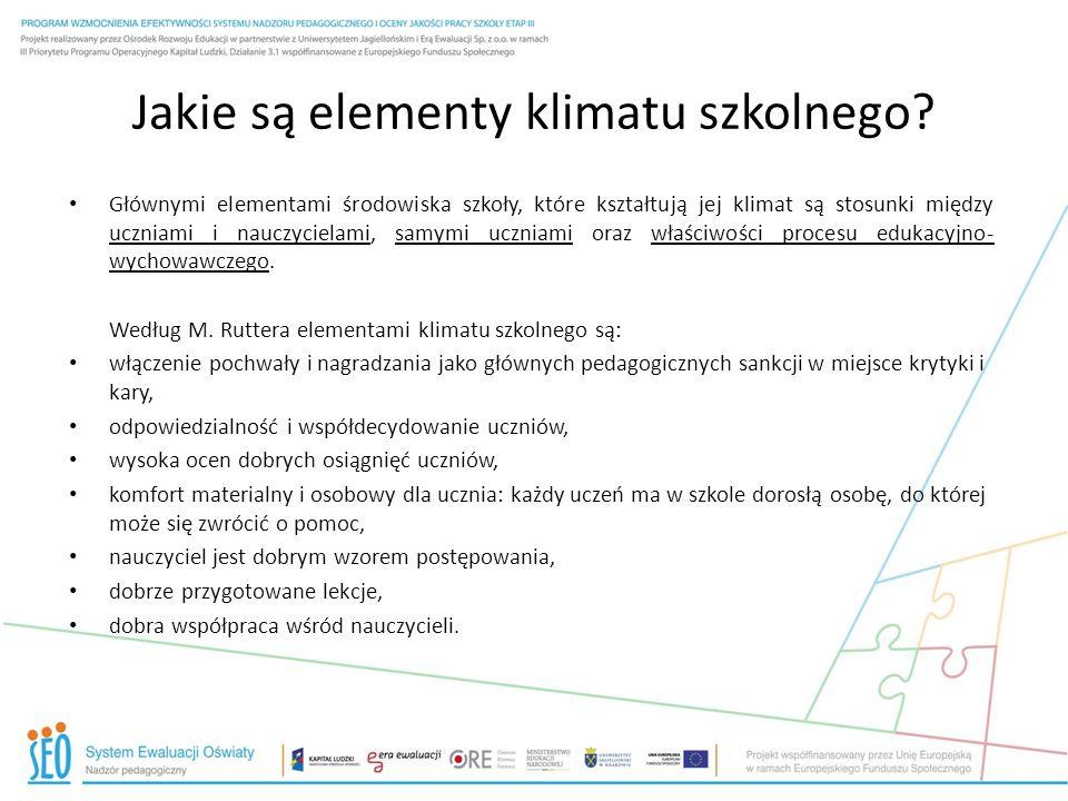 Jakie są elementy klimatu szkolnego