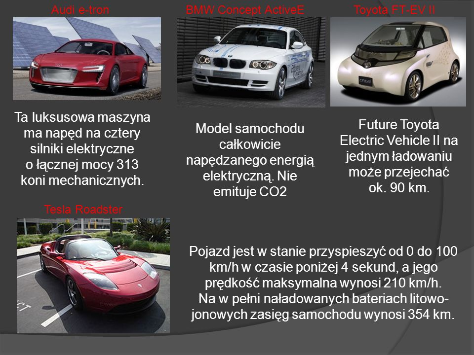 Audi e-tron BMW Concept ActiveE. Toyota FT-EV II.