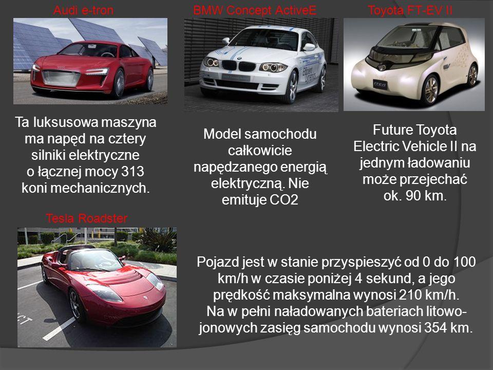 Audi e-tronBMW Concept ActiveE. Toyota FT-EV II. Ta luksusowa maszyna ma napęd na cztery silniki elektryczne o łącznej mocy 313 koni mechanicznych.