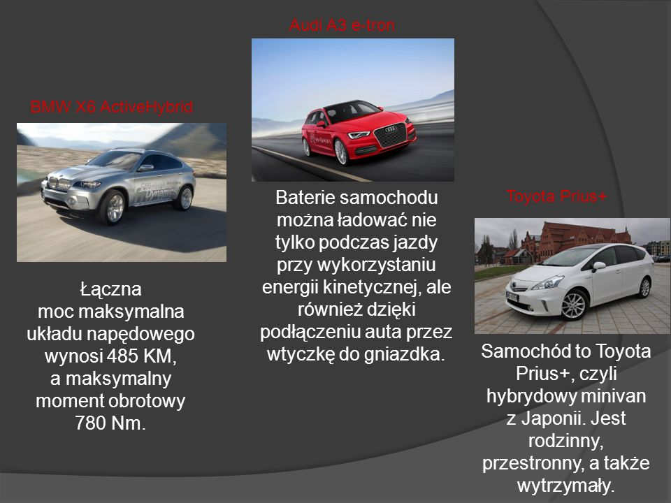 Audi A3 e-tron BMW X6 ActiveHybrid.