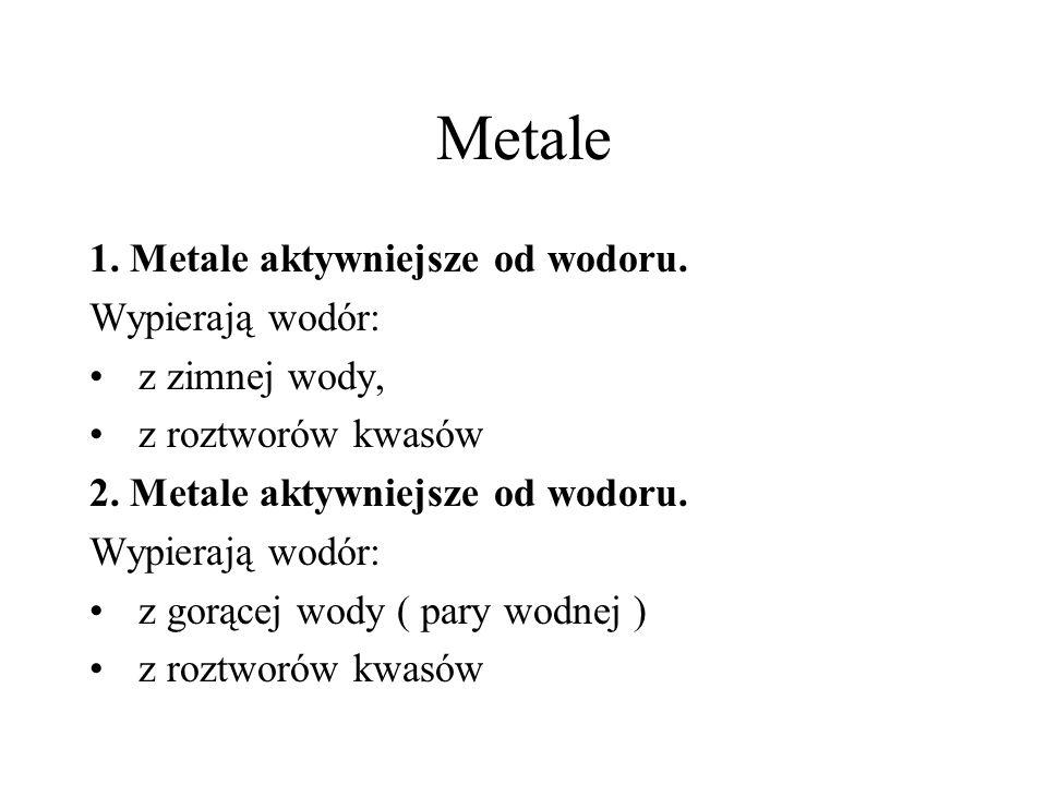 Metale 1. Metale aktywniejsze od wodoru. Wypierają wodór: