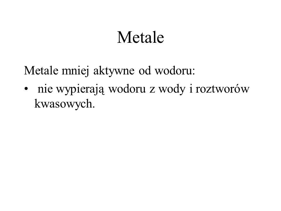 Metale Metale mniej aktywne od wodoru: