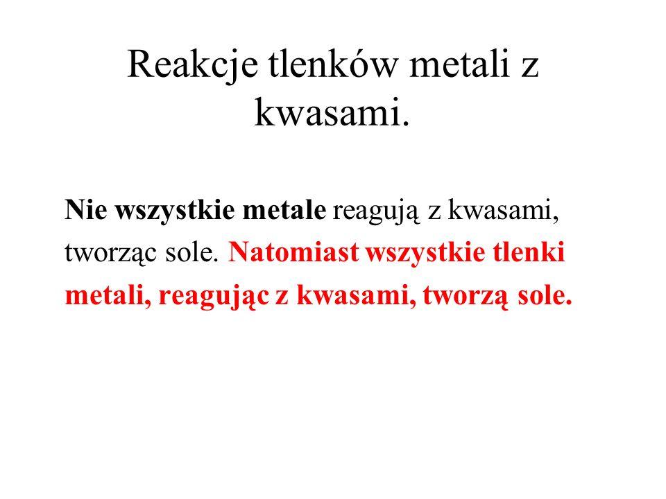 Reakcje tlenków metali z kwasami.