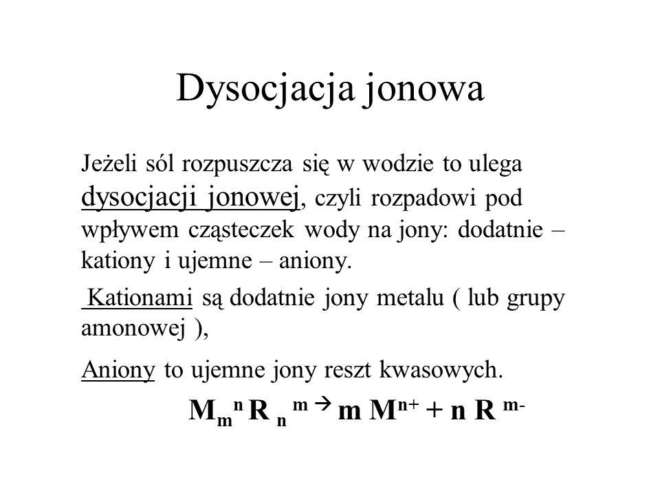 Dysocjacja jonowa Mmn R n m  m Mn+ + n R m-