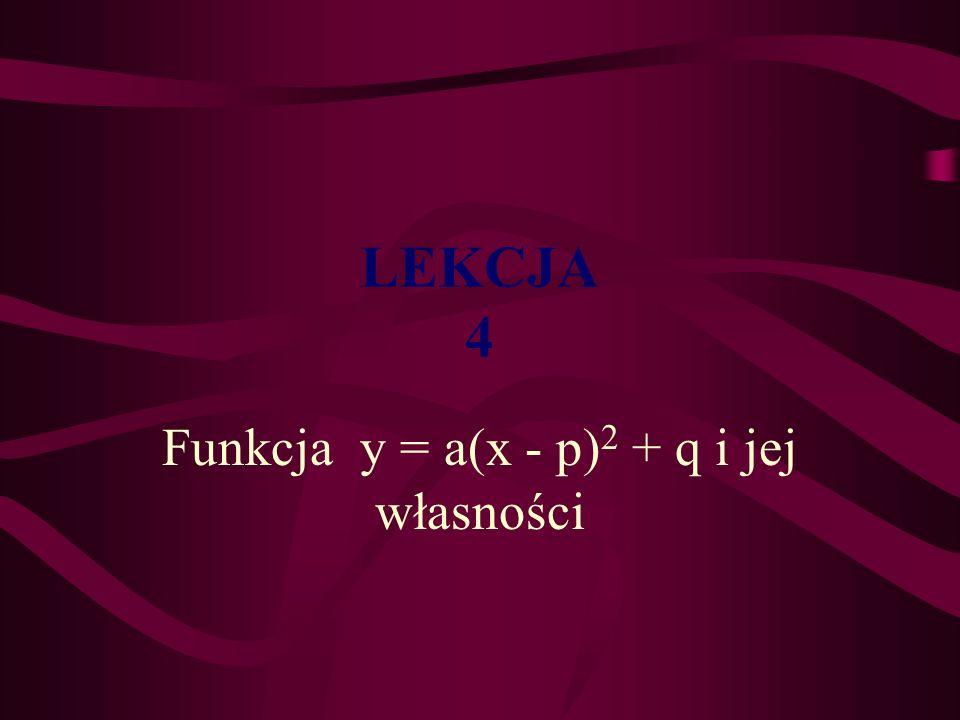 Funkcja y = a(x - p)2 + q i jej własności