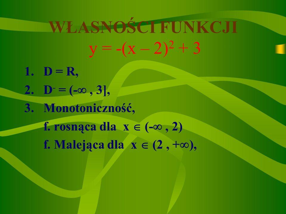 WŁASNOŚCI FUNKCJI y = -(x – 2)2 + 3